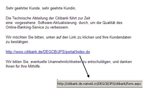 Citibank Phishing Mail